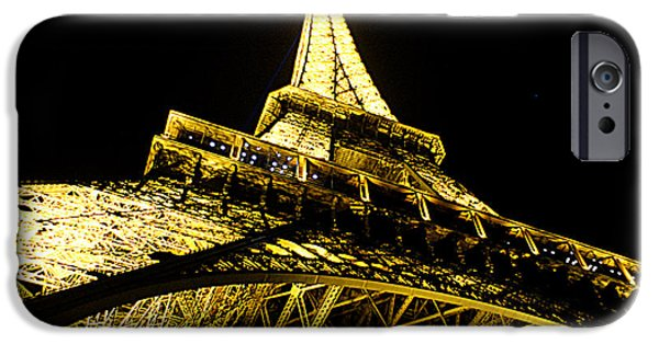 Jacob Lawrence iPhone Cases - Tour Eiffel - la nuit par le bas iPhone Case by Everett Spruill