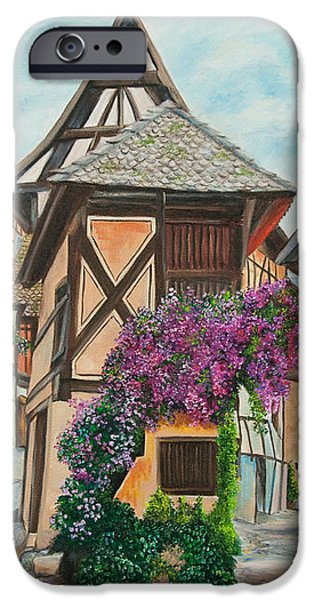 Touring in Eguisheim iPhone Case by Charlotte Blanchard