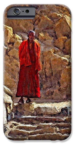 Tibetan Buddhism Digital Art iPhone Cases - Towards Nirvana impasto iPhone Case by Steve Harrington
