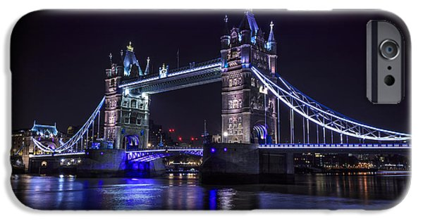 Towering Pyrography iPhone Cases - Tower Bridge At Night iPhone Case by Celal Yesilada