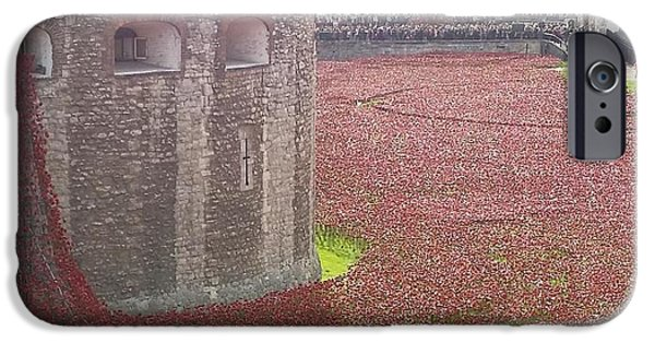 Ww1 iPhone Cases - Tower Bridge Poppies iPhone Case by Andy Collings
