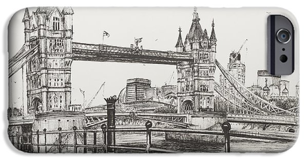 River View Drawings iPhone Cases - Tower Bridge iPhone Case by Vincent Alexander Booth