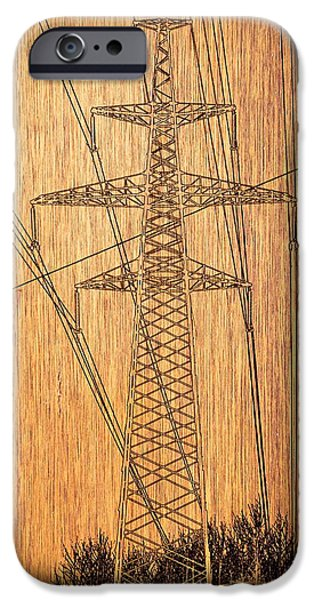 Power Pyrography iPhone Cases - Tower of high-voltage lines. iPhone Case by Alexey Bazhan