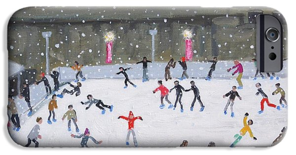 Ice-skating iPhone Cases - Tower of London Ice Rink iPhone Case by Andrew Macara