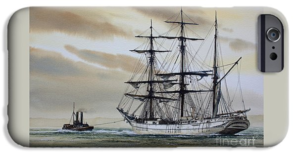 Sailing Ship Framed Prints iPhone Cases - Towing Out to Sea iPhone Case by James Williamson