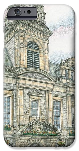 Facade Drawings iPhone Cases - Town Hall Clock Kendal Cumbria iPhone Case by Sandra Moore