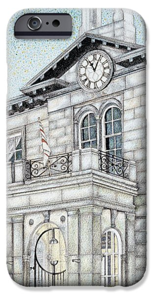 Facade Drawings iPhone Cases - Town Hall Clock Kirkby Lonsdale Cumbria iPhone Case by Sandra Moore