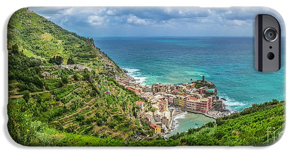 Boat iPhone Cases - Town of Vernazza, Cinque Terre, Italy iPhone Case by JR Photography