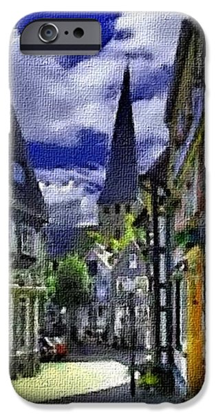 Business Pastels iPhone Cases - Town Scene - Switzerland H A iPhone Case by Gert J Rheeders