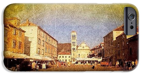 Town Square #edit - #hvar, #croatia iPhone Case by Alan Khalfin