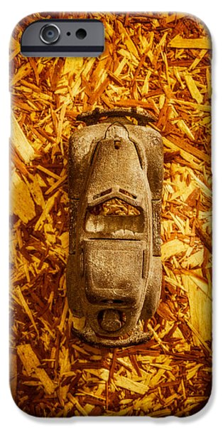 Antique Cars iPhone Cases - Toy Car on Wood iPhone Case by Yo Pedro