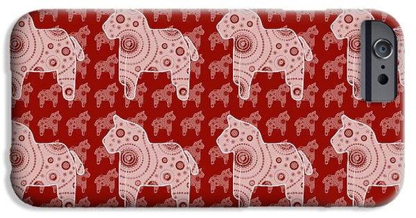 Graphic Design iPhone Cases - Toy Horse Pattern iPhone Case by Frank Tschakert