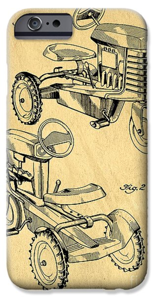 Recently Sold -  - Old Barn Drawing iPhone Cases - Toy Tractor Patent Drawing iPhone Case by Edward Fielding