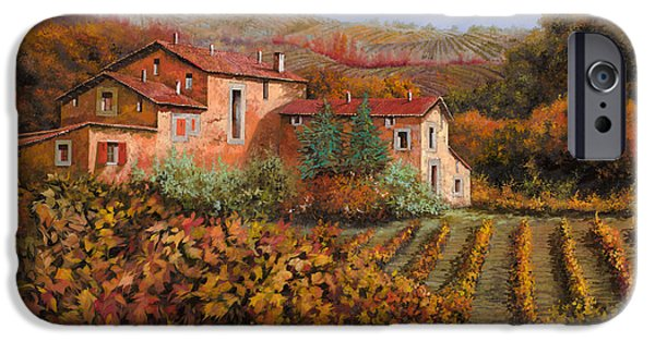 Fall iPhone Cases - tra le vigne a Montalcino iPhone Case by Guido Borelli