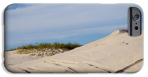 Beach Landscape iPhone Cases - Tracks in the Sand Dunes iPhone Case by Debra Martz