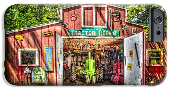 Antiques iPhone Cases - Tractor Repair Shoppe iPhone Case by Debra and Dave Vanderlaan