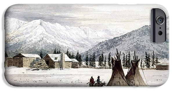 Log Cabin Art iPhone Cases - TRADING OUTPOST, c1860 iPhone Case by Granger