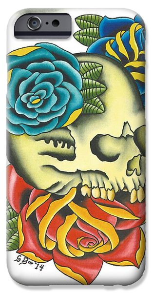 Tattoo Flash iPhone Cases - Traditional Skull with Roses iPhone Case by Scott Bohrer