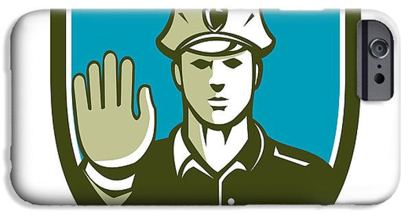 Law Enforcement iPhone Cases - Traffic Policeman Hand Stop Sign Shield Retro iPhone Case by Aloysius Patrimonio