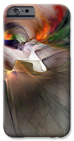 Contemplative iPhone Cases - Tragedy Abstract Art iPhone Case by Karin Kuhlmann