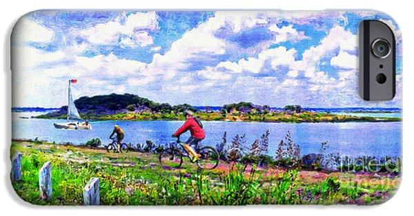 Austin Artist Digital Art iPhone Cases - Mountain Bike Adventures iPhone Case by Le Artman
