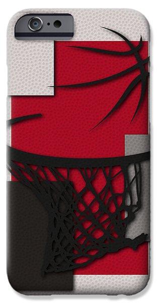 Dunk iPhone Cases - Trail Blazers Hoop iPhone Case by Joe Hamilton