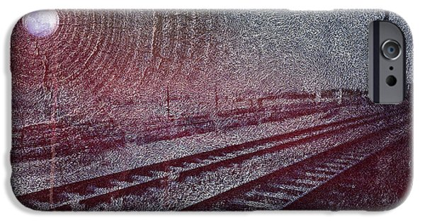 Texture iPhone Cases - Train Tracks with the Moon iPhone Case by Austin Howlett