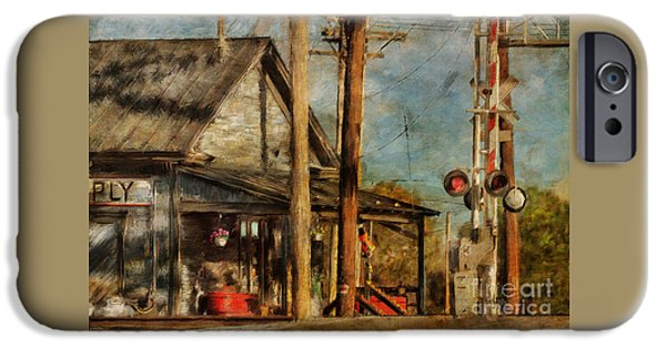 Town iPhone Cases - Trains Coming - Berryville Farm Supply iPhone Case by Lois Bryan