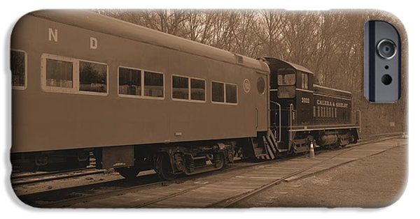 Old Cars iPhone Cases - Trains2 sepia iPhone Case by Jay Mann