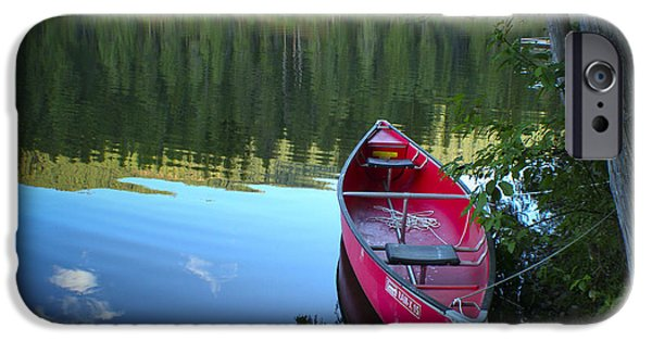 Red Canoe iPhone Cases - Tranquil Afternoon iPhone Case by Idaho Scenic Images Linda Lantzy