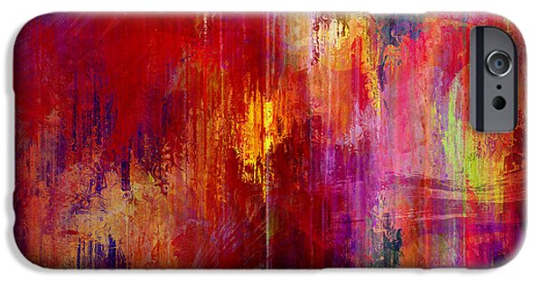 Recently Sold -  - Red Abstract iPhone Cases - Transition - Abstract Art iPhone Case by Jaison Cianelli
