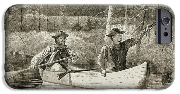 Canoe Reliefs iPhone Cases - Trapping in the Adirondacks iPhone Case by Winslow Homer