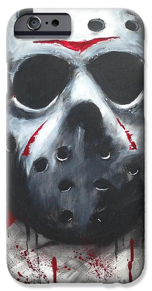 Hockey Paintings iPhone Cases - Trash polka jason iPhone Case by Tyler Haddox