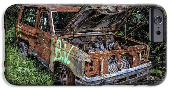 Old Cars iPhone Cases - Trashed Car Maui Hawaii iPhone Case by Edward Fielding