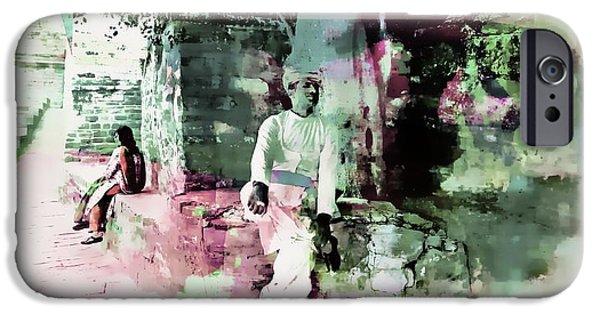 Waiter Digital iPhone Cases - Travel Exotic Portrait Man Restaurant Waiter Sun Fort India Rajasthan 2b iPhone Case by Sue Jacobi