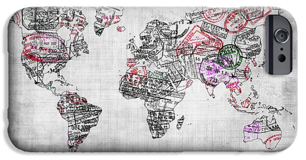 Different Worlds iPhone Cases - Traveller world map grey iPhone Case by Delphimages Photo Creations
