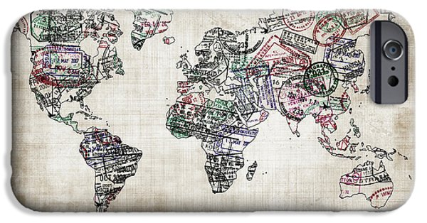 Different Worlds iPhone Cases - Traveller world map sepia iPhone Case by Delphimages Photo Creations
