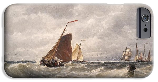 North Sea iPhone Cases - Trawlers In The North Sea iPhone Case by Celestial Images