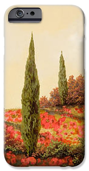 tre case tra i papaveri iPhone Case by Guido Borelli