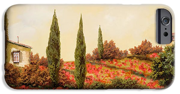 Drink iPhone Cases - Tre Case Tra I Papaveri iPhone Case by Guido Borelli