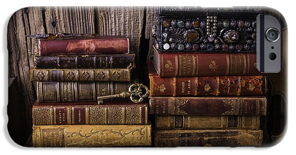 Treasure Box iPhone Cases - Treasure Box On Old Books iPhone Case by Garry Gay