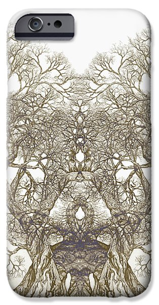 Sepia Ink Drawings iPhone Cases - Tree 20 Hybrid 1 iPhone Case by Brian  Kirchner