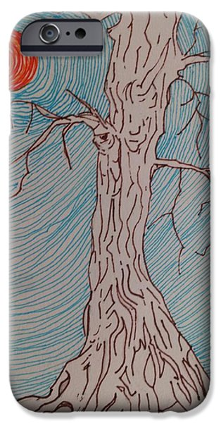 Sun Rays Drawings iPhone Cases - Tree 3 iPhone Case by William Douglas