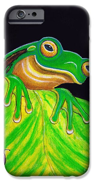 Amphibians iPhone Cases - Tree Frog on a leaf with lady bug iPhone Case by Nick Gustafson