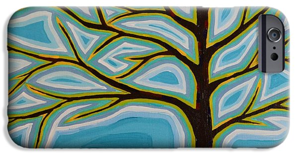 Modern Abstract iPhone Cases - Tree In Spring iPhone Case by Joy  Pesaturo