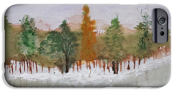Winter Scene iPhone Cases - Tree Line iPhone Case by Sharon Eng