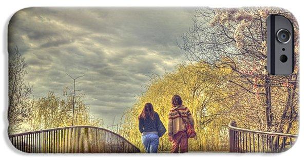 Charles River iPhone Cases - Tree Lined Footbridge - Fairfield Street Bridge - Boston iPhone Case by Joann Vitali