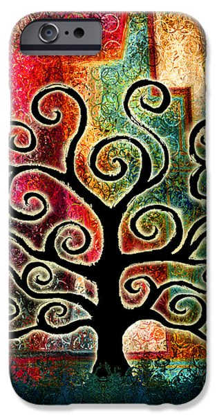 Abstract On Canvas Paintings iPhone Cases - Tree Of Life iPhone Case by Jaison Cianelli