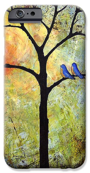 Bluebird iPhone Cases - Tree Painting Art - Sunshine iPhone Case by Blenda Studio