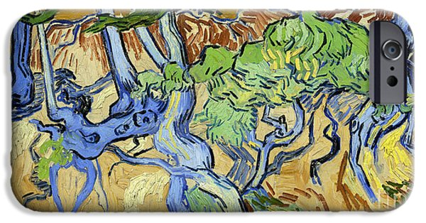 Tree Roots Paintings iPhone Cases - Tree Roots iPhone Case by Van Gogh
